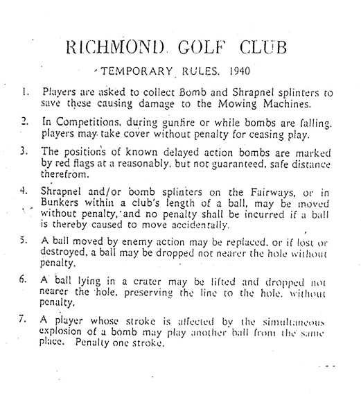 Richmond Golf Club rules