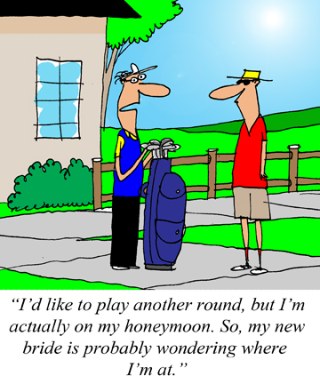 Jerry King Gorilla Golf Blog Honeymoon Cartoon