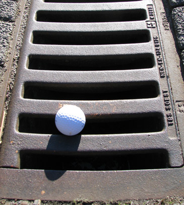Urban golf-ball-in-the-gutter