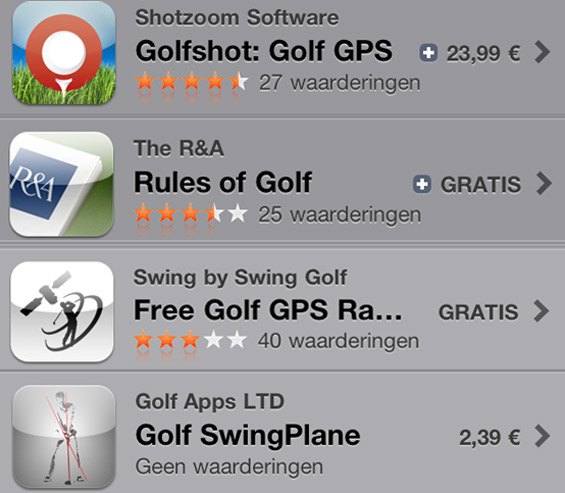 Golf apps for android, iphone, blackberry