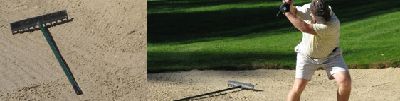 Where and how to Position a Rake: In or out of the Golf Bunker?