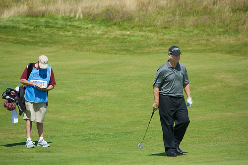 Tom Watson and caddy, Turnberry
